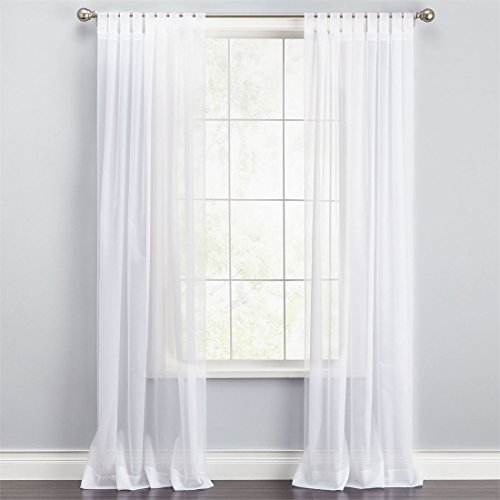 BrylaneHome Scenario Voile Tab-Top Panels (White,60