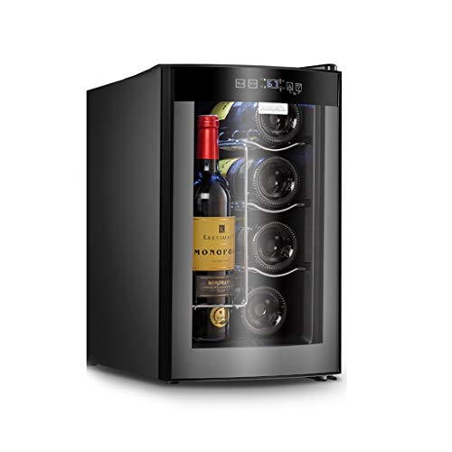 Thermostat Wine Cooler Wine Cabinet Home Small Ice Bar Office Refrigerator Wine Cooler Single Door Refrigerator (Color : Black, Size : 255045.3cm)