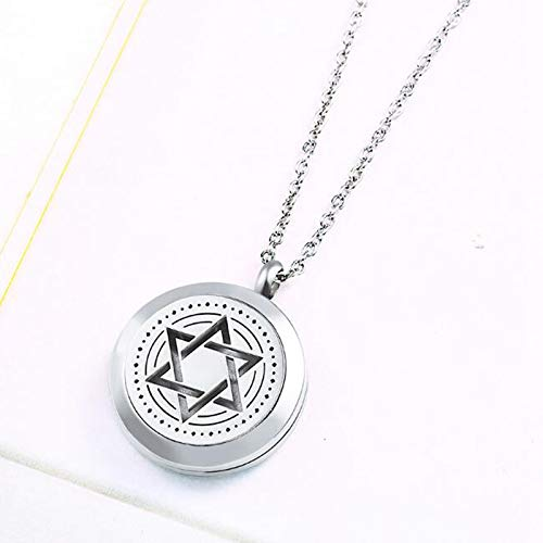 Aromatherapy Essential Oil Diffuser Locket Hexagram Necklace Engraved Daddys Little Girl