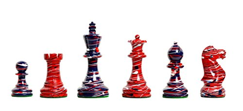 The House of Staunton - The Americana Series Chess Set - Pieces Only - Red, White, Blue - 4.0