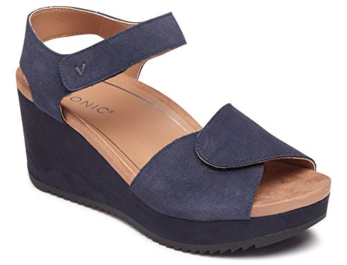 Vionic Women's Hoola Astrid II Wedges - Adjustable Sandals with Concealed Orthotic Arch Support Navy 11 M - Concealed Wedge