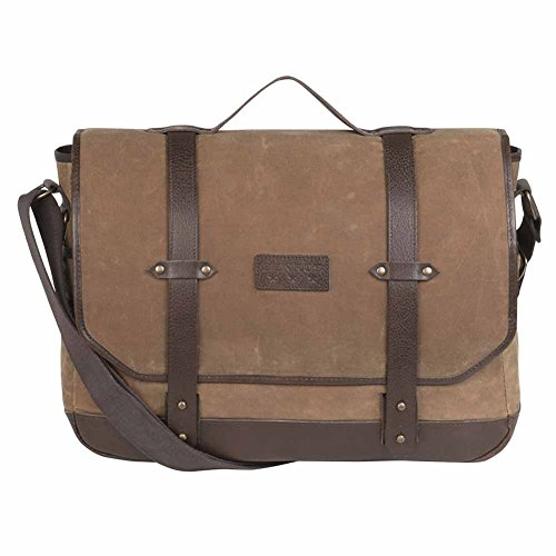 BENRUS J1 Messenger Bag in Chestnut Waxed Canvas with Brown (Suede Messenger Bag)