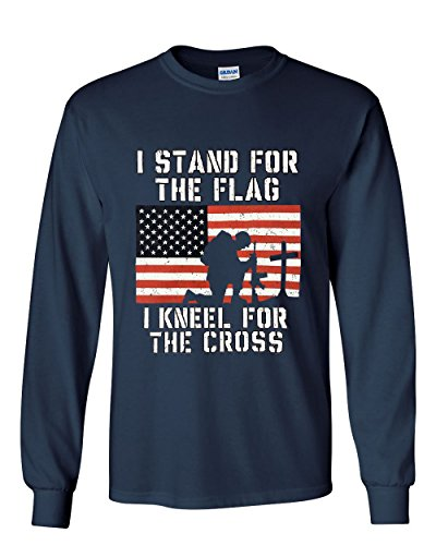 I Stand for the Flag I Kneel for the Cross Long Sleeve Tee Patriot Navy Blue L