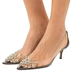 Women Rhinestone Studded Pointy Toe Med Heels