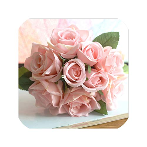 - Artificial Flowers Rose Bouquet for Wedding Home Party Decoration Fake Flower Silk Rose Autumn Decoration Fall Flower,9 Heads Pink