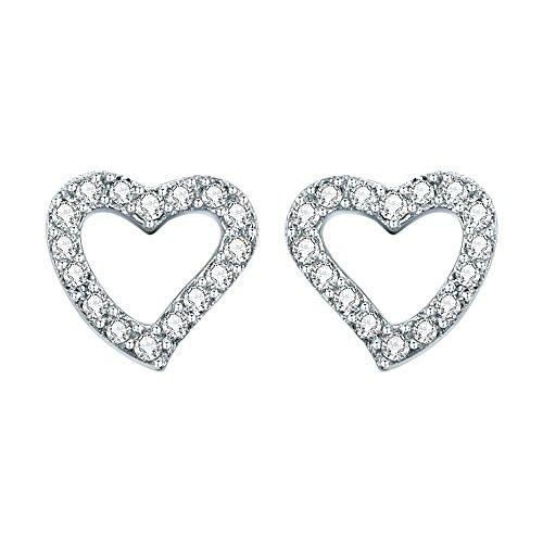 AoedeJ Open Heart Stud Earrings 925 Sterling Silver Earrings Inlay CZ Stone for Girls and Women Earrings (Heart style 4) ()