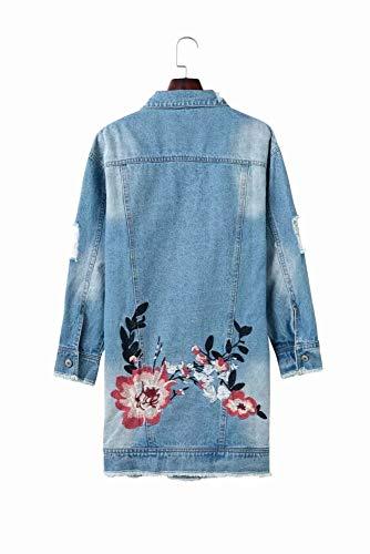 Zxc Brodée Fleurs Coat Trench De Bleues Broderie Avec xwYYHqIr