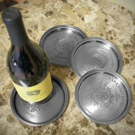 European Vineyard Pewter Wine Bottle Coasters, Set of 4 Pewter Wine Coaster