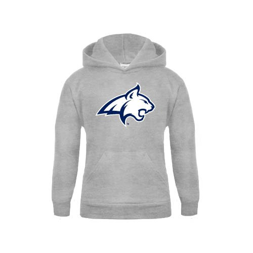Montana State Youth Grey Fleece Hood Bobcat Head