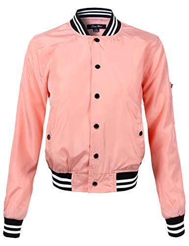(Luna Flower Women's Waist Length Relaxed Fitted Style Buttoned Bomber Jackets Pink Small (GJAW108))