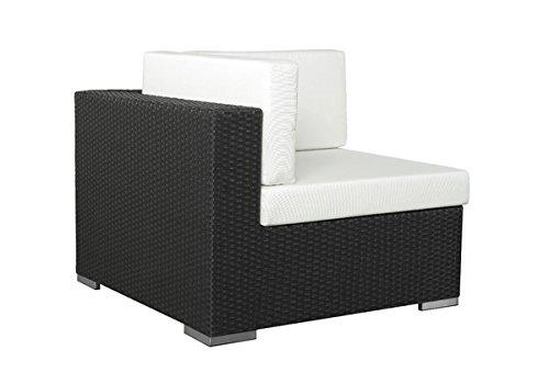Gartenmöbel Rattan Couch Espace Ecksofa Polyrattan, schwarz inkl. Kissen