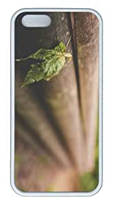 iPhone 5S Customized Unique Landscape Flowers Leaf On Wooden Fence New Fashion TPU White iPhone 5/5S Cases