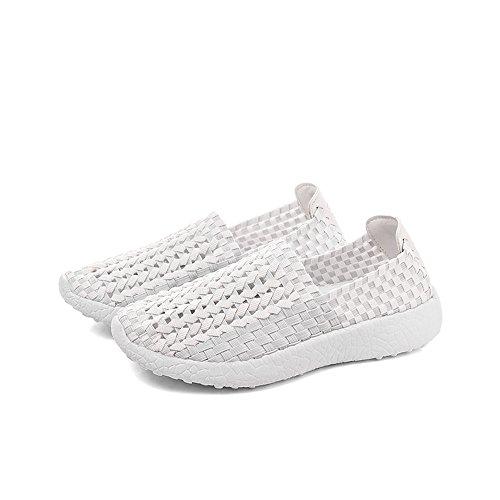Flache Weiß Damen Sommer gewebt Monrinda Trainer Schuhe elastische Frauen Loafer leichte Wanderschuhe Wasser Schuhe Slip Atmungsaktive Komfort Sandalen On 1xUx64