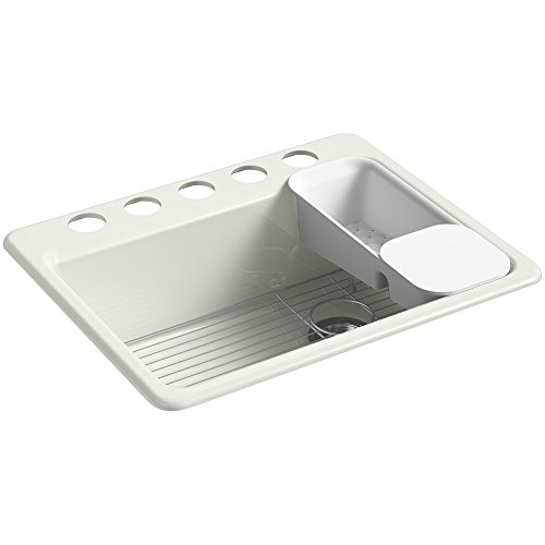 KOHLER Riverby Undermount Cast Iron 27 in. 5-Hole Single Bowl Kitchen Sink Kit in Dune