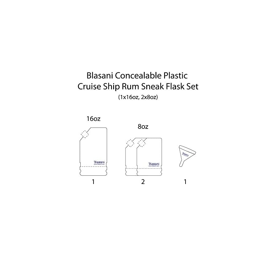 BLASANI Concealable Cruise Ship Rum Sneak Flask Kit Set (1 X 16 oz, 2 X 8 oz)
