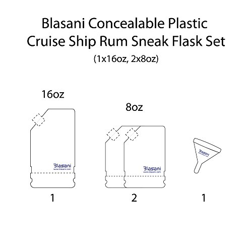 BLASANI Concealable Cruise Ship Rum Sneak Flask Kit Set (1 X 16 oz, 2 X 8 oz)