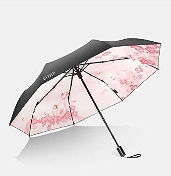 Doble paraguas paraguas negro tela UV protección Sra. plegable sombrilla paraguas, A