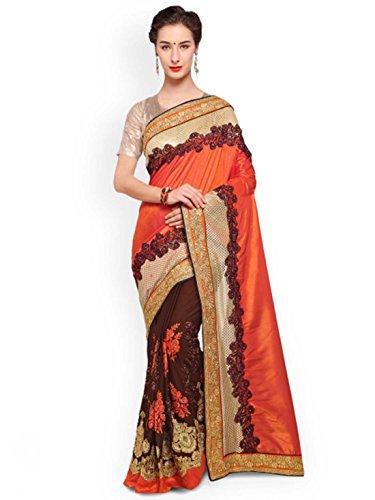 Georgette Brown Saree Handicrfats Kalista amp; Half Indian Orange Export Poly Embroidered qTBc0