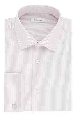 Calvin Klein Men's Non Iron Regular Fit Stripe Spread Collar Dress Shirt
