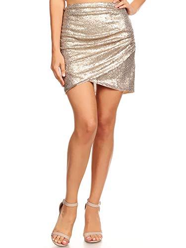 Anna-Kaci Womens Short Ruched Tulip Hem Body Con Sequin Club Pencil Mini Skirt, Brown, Medium - New Years Eve Outfits