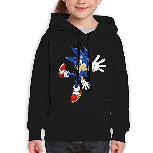 Guiping Sonic Hedgehog (1) Boys and Girls Pullover Hooded Sweatshirt Black S ()