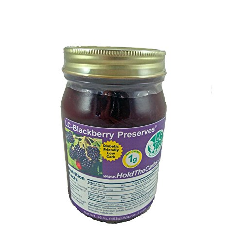 Low Carb Blackberry Preserves - LC Foods - All Natural - No Sugar Added - Paleo - Gluten Free - Diabetic Friendly - Low Carb Jam - 16 oz