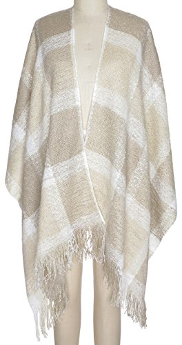(Capelli New York Oversized Plaid Woven Boucle Woven Ruana Natural Combo One Size)