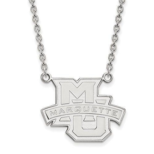 Marquette Chain - FB Jewels Sterling Silver LogoArt Marquette University Large Pendant with Chain Necklace