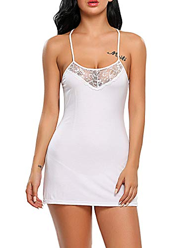 Avidlove Women Lingerie Lace Chemise Sleepwear Babydoll Set Mini Dress (XL, White (Mini Chemise))