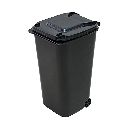 Accreate Mini Wheelie Trash Can Plastic Storage Bin Desktop Organizer Creative Pen/Pencil Cup (black) ()