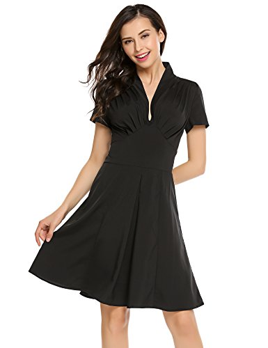 8e4ba5c818 Finejo Women s V-Neck Short Sleeve Ruched Waist Fit and Flare Wrap Dress