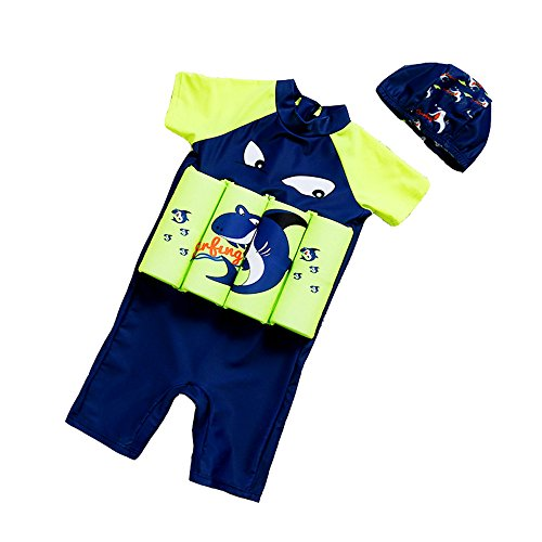 Kids One Piece Float Swimsuit Buoyancy Swimwear for Children Learning Swim Vest Knee Length Swimming Suit (M, 8) by NIDALEE