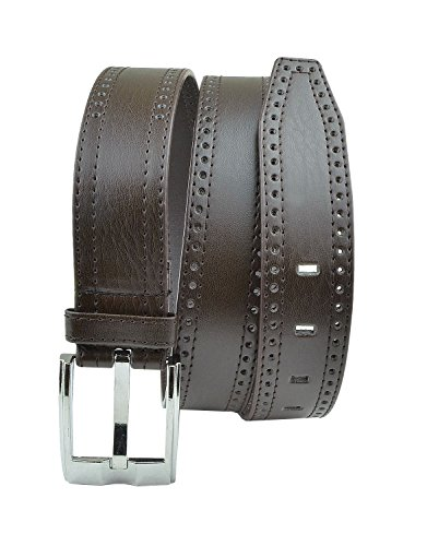 Moda Di Raza- Men's Chocolate Leather Belt - Dress Belt - Silver Polished Square Buckle - Single Prong Buckle - - Chocolate Polished Square