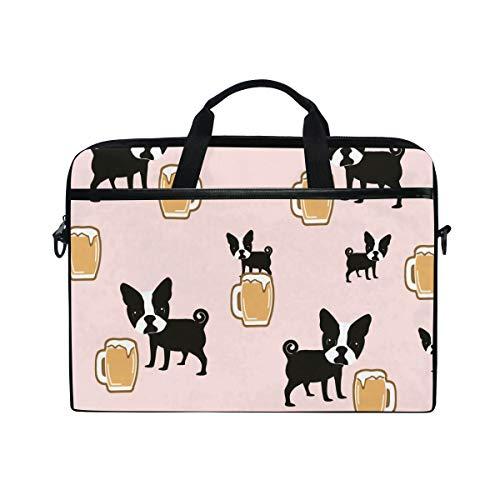Ainans Boston Terriers with Beer 15 inch Laptop Case Shoulder Bag Crossbody Briefcase Messenger Sleeve for Women Men Girls Boys (Bag Messenger Boston)