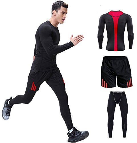 Mens Compression Muscle Activewear Set Long Sleeve Moisture Wicking T-Shirts Breathable Workout Running Clothing(Pack of 3)