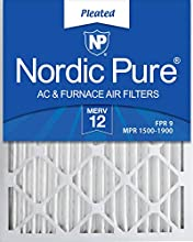 Nordic Pure 20x30x2 MERV 12 Pleated AC Furnace Air Filters, Box of 3