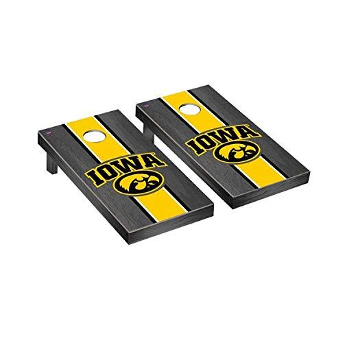- Victory Tailgate Regulation Collegiate NCAA Onyx Stained Stripe Series Cornhole Board Set - 2 Boards, 8 Bags - Iowa Hawkeyes