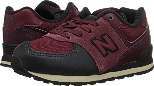 New Balance Boys' Iconic 574 Sneaker, Nubuck Burgundy/Black, 6 M US Toddler ()