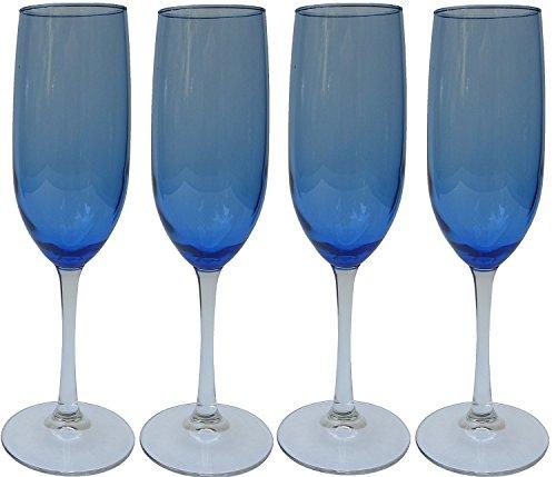 Cobalt/ Royal Blue Tinted Clear Stem Two-tone Champagne Flutes Glasses, 8oz - Set of 4