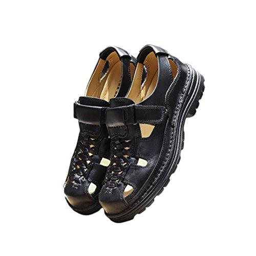 Pelle Estate Indossare sandali black libero Uomo Ciabatte Confortevole adulto pacchetto Durevole Antiscivolo Gli Scarpe Spiaggia a sport Naturale e tempo infradito 1qpEB