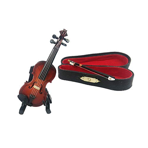 ROOTLISA 3.6Inch Mini Handheld Violin Toy Miniature Musical Instruments Collection Wooden Decorative Ornaments Gift with Stand Support and Case
