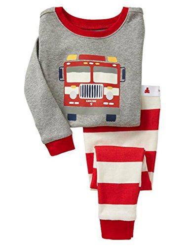 CharmLeaks Jungen Schlafanzug Bus-Motiv Rot Streifen Print Zweiteiliger Pyjama Lang 6-7 Jahre