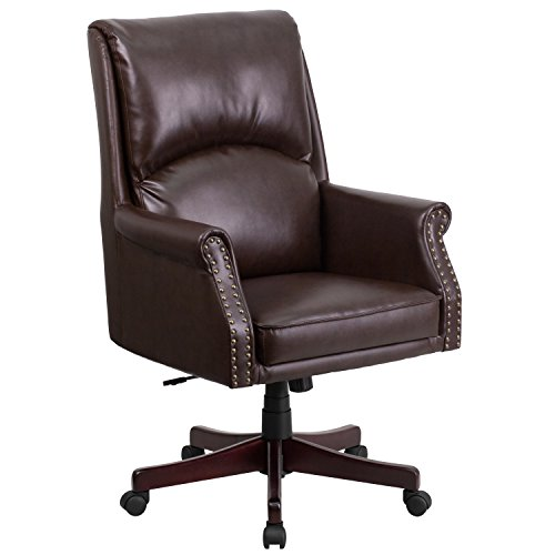 Brass Traditional Chair (Flash Furniture High Back Pillow Back Brown Leather Executive Swivel Chair with Arms)
