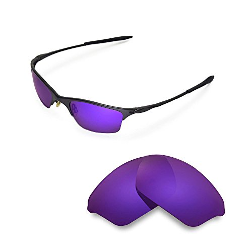 Walleva Replacement Lenses for Oakley Half Wire XL Sunglasses - Multiple Options Available (Purple - Polarized)