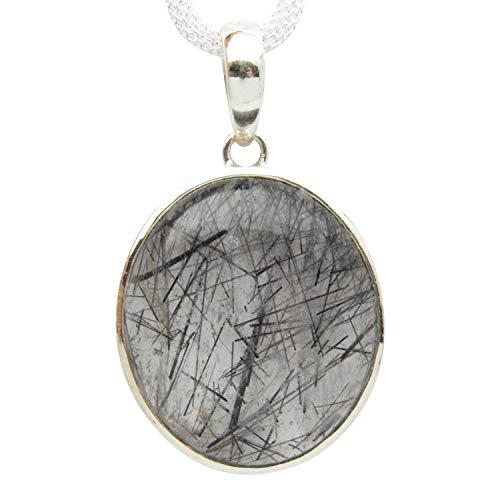 Fundamental Rockhound Products: Tourmalated Quartz Gemstone Sterling Silver Pendant on 18 inch mesh chain (Black Tourmaline/Schorl)