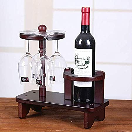 Estantería de vino Estante de la botella de vino, vino creativo de madera estante del vino del sostenedor de la copa de vino en rack Home Bar y Cafetería decoración del hogar Estudio Ideal estante de
