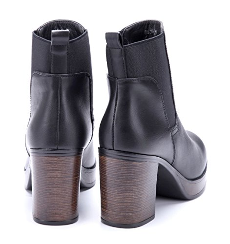 Schuhtempel24 Damen Schuhe Plateau Stiefeletten Stiefel Boots Blockabsatz Schlupf 9 cm Schwarz