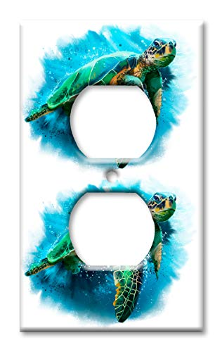 Art Plates OVER SIZED Outlet Cover/OVERSIZE Switch Plate - Sea Turtle Painting
