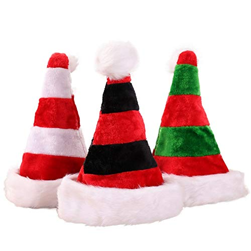 AOFITEE Adult Christmas Santa Hat Red Green White Striped Elf Hat Holiday Headwear