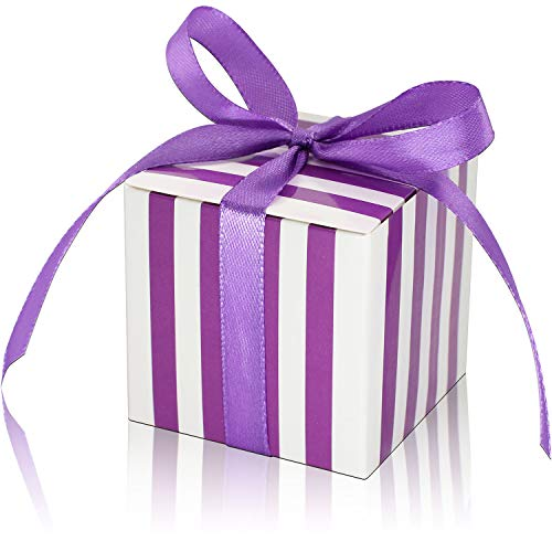 KPOSIYA 70 Pack Candy Boxes Purple and White Striped Favor Boxes 2 x 2 x 2 inch Small Gift Boxes with Ribbons for Wedding Favors Party Bridal Shower Favors (Purple and White Striped, 70)